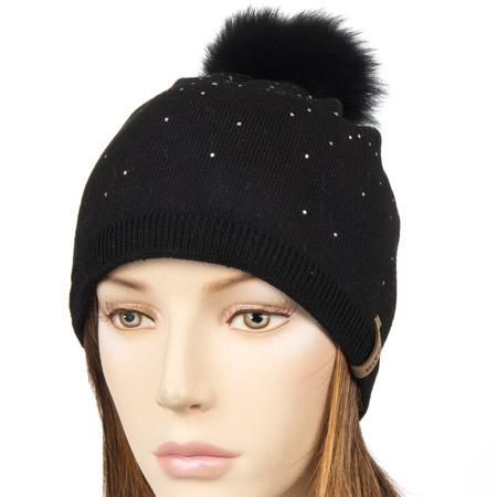 NORTON – Cappello invernale con strass e pompon di pelliccia 2434032167ae