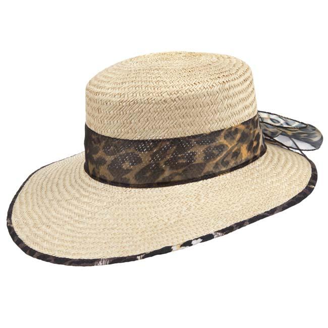 cappello da donna in paglia con fascia maculata