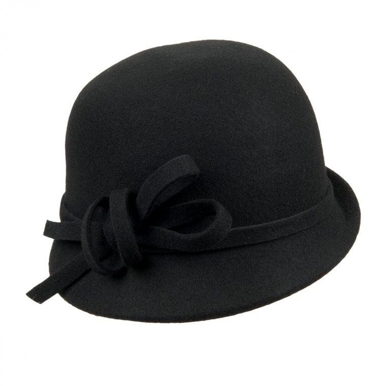 cappello donna tipo cloche con falda stretta in feltro ...
