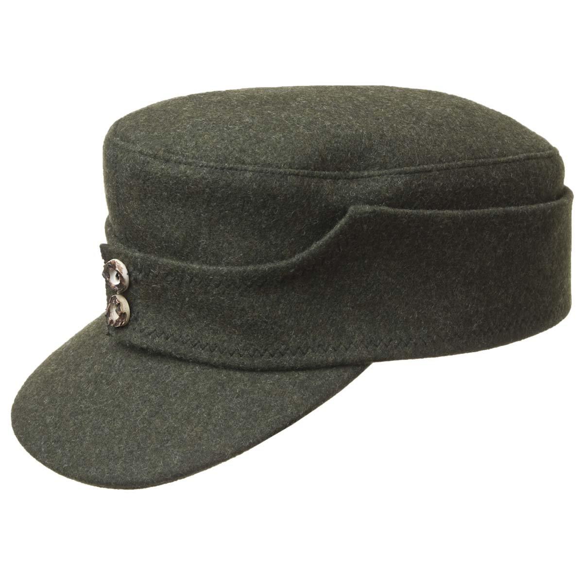 buona consistenza più economico scarpe a buon mercato berretto di loden con bottoni di corna cervo