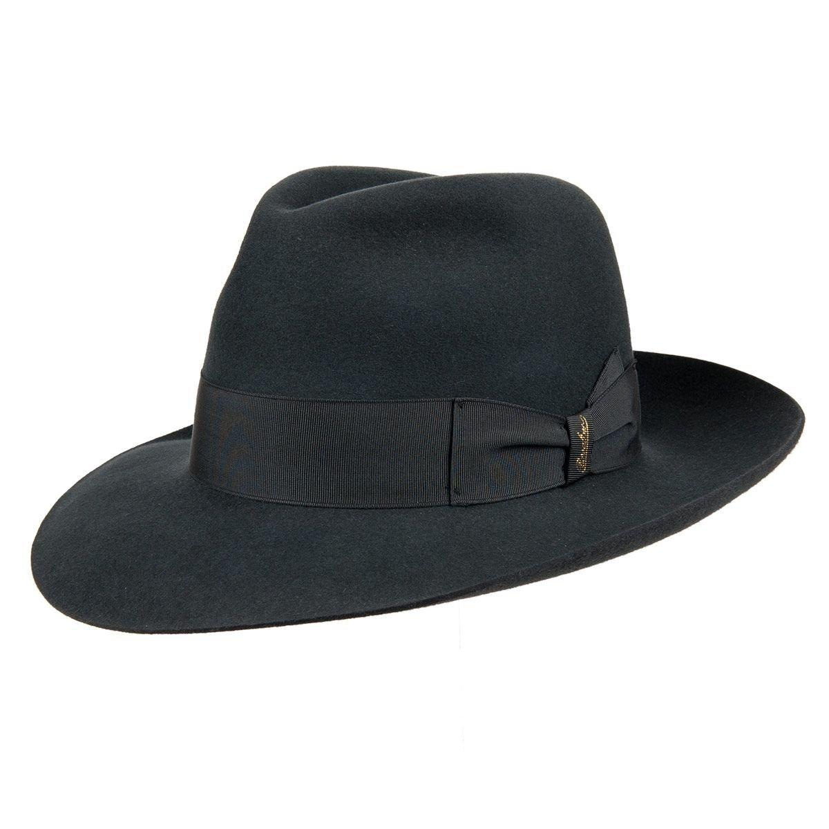 cappello classico Fedora Borsalino a tesa larga in feltro di lapin c8c51aceceeb