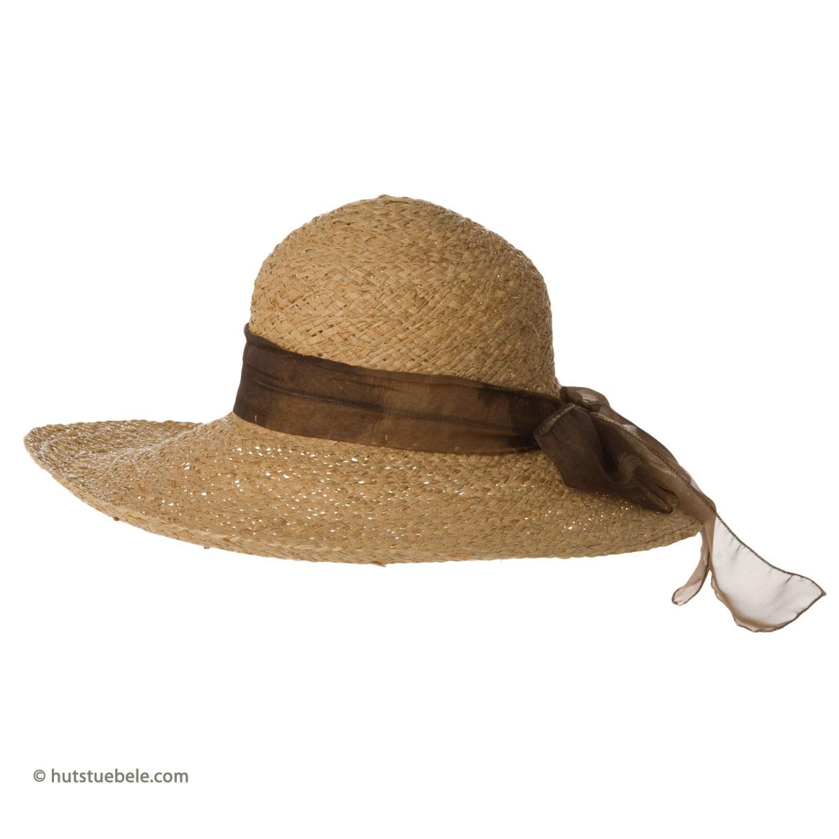 Cappello elegante di paglia con tesa larga da donna