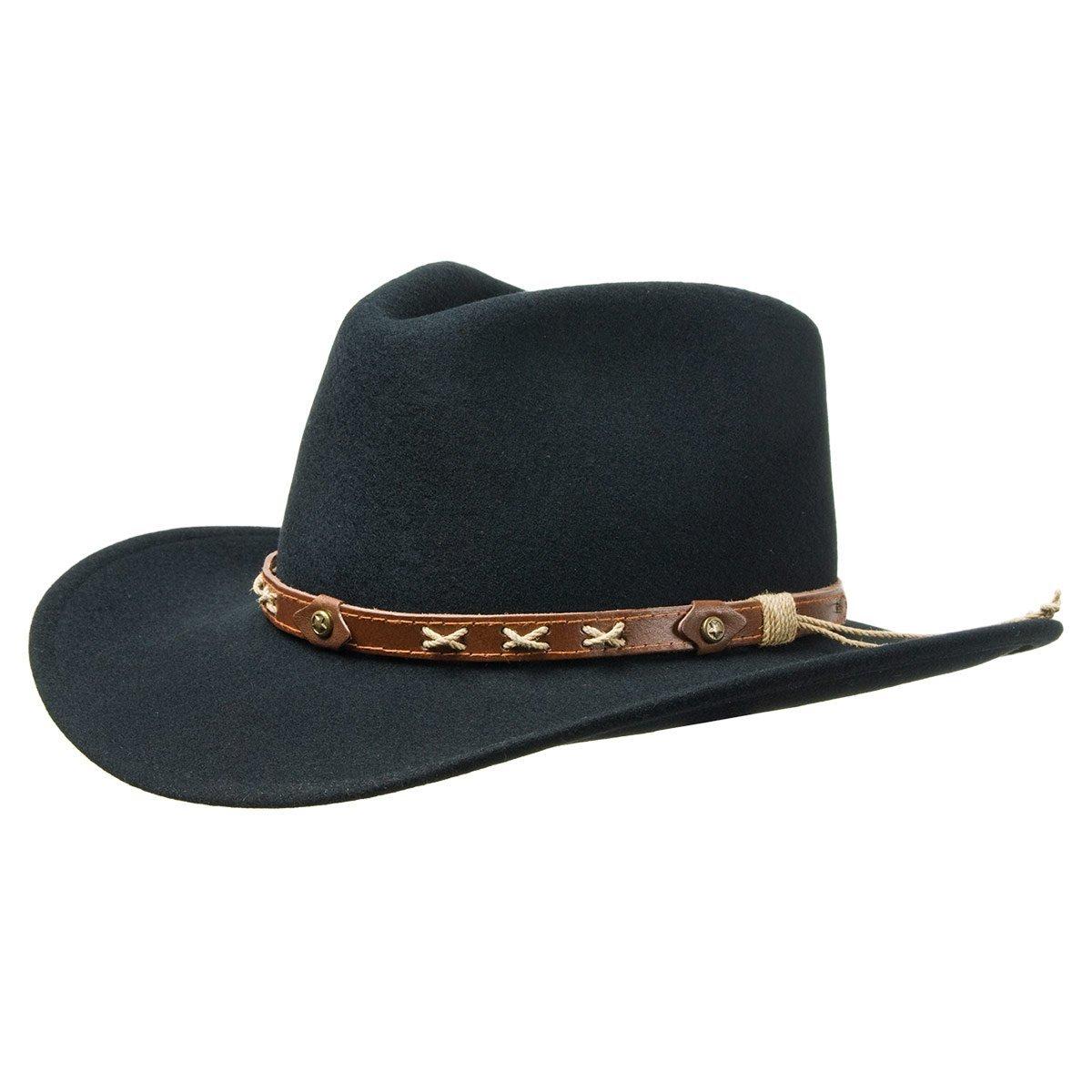 Cappello tipo cowboy in feltro lana con cinturino ... 00787d830877
