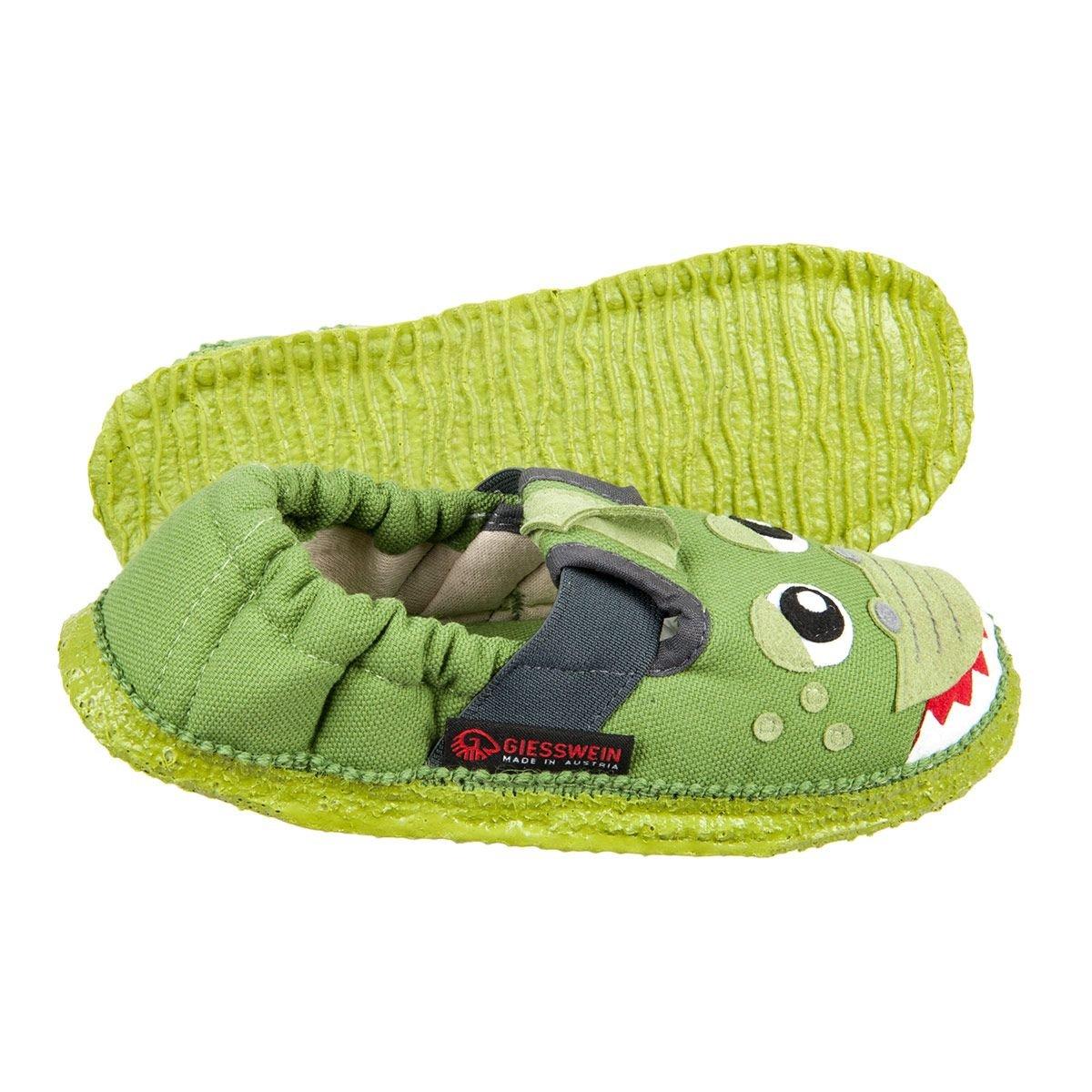 GIESSWEIN | Pantoffeln Baumwolle für Kids mit Krokodil Motiv