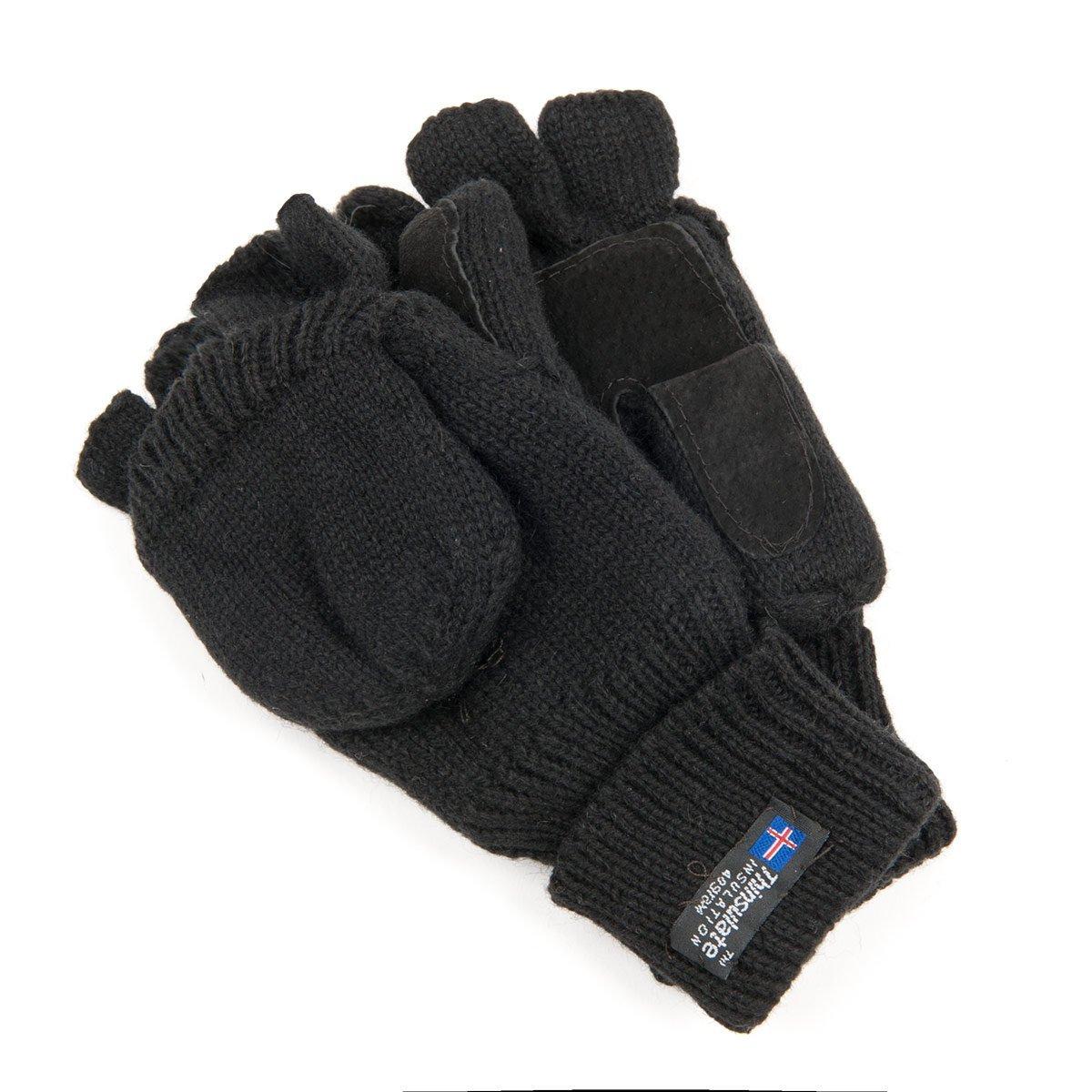 Guanti da donna senza dita tipo manopola in lana maglia con fodera  THINSULATE 8673fd61ccbe