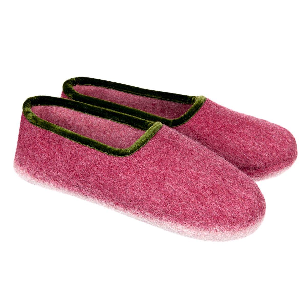 costruzione razionale check-out migliore HAUNOLD | pantofole di puro feltro 100% feltro lana chiuse dietro per donna  colore rosso con verde