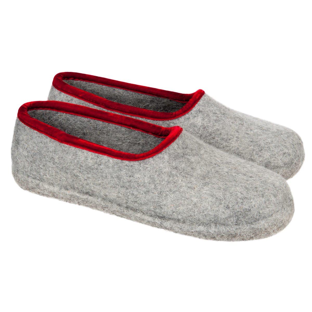 le più votate più recenti il prezzo rimane stabile up-to-date styling HAUNOLD | pantofole di puro feltro 100% lana chiuse dietro per donna colore  grigio con bordo rosso