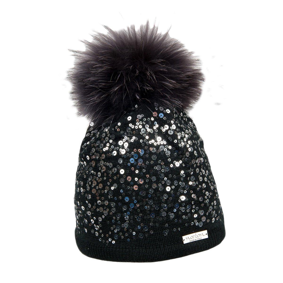 la moda più votata 2020 super speciali NORTON | berretto cuffia con pompon pelo per donna con deco paillete