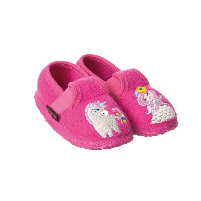premium selection c3b46 c6f85 Pantoffeln für Kinder mit Einhorn und Prinzessin Applikation Modell Tilleda  von Giesswein