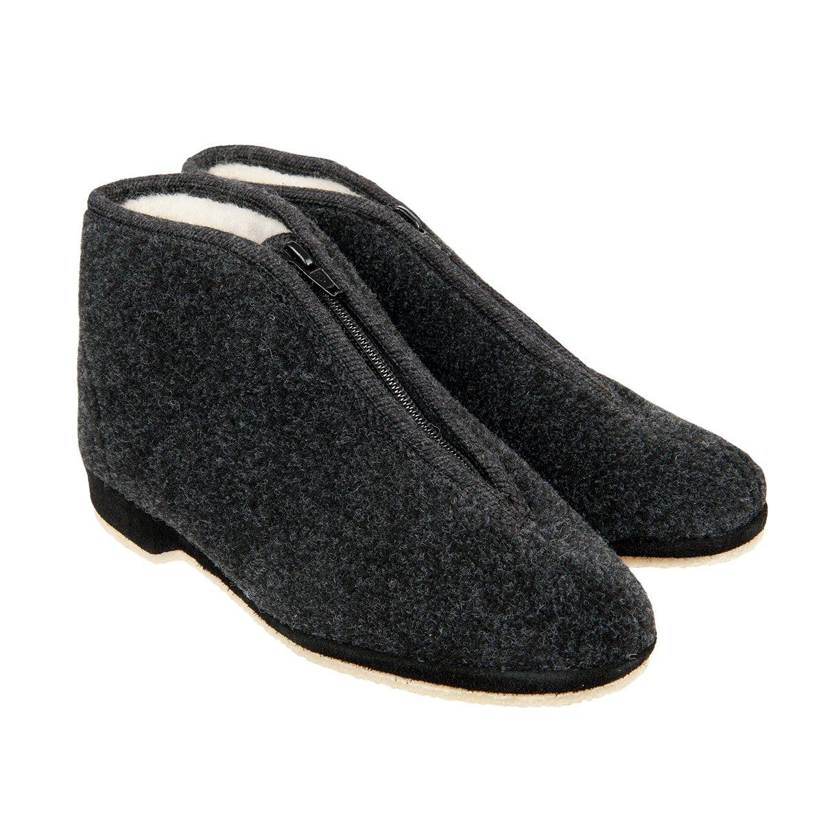 timeless design 23522 40d78 Pantofole alte in pura lana con cerniera