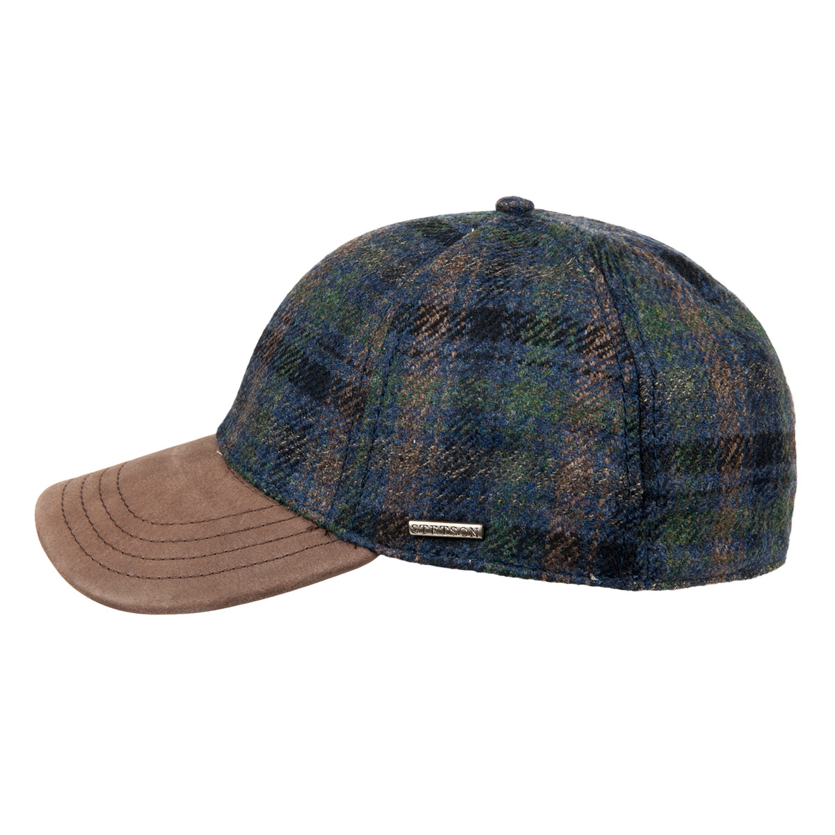 91b3c7de7c6 checked baseball cap lined in cotton Baseball Cap Wool Cashmere by STETSON