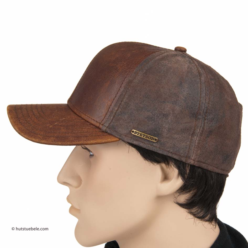 8e8179d00d7 baseballcap in leather Campbell Goat Pig by Stetson