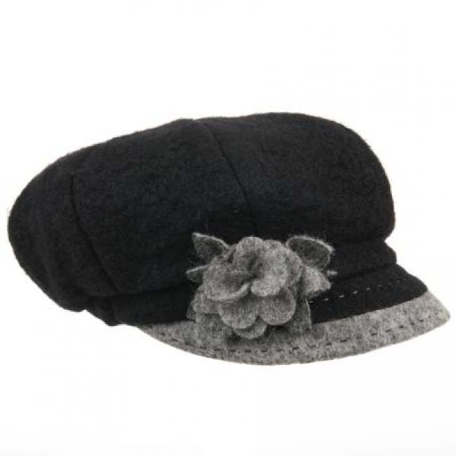 berretto Ann in lana cotta con applicazione fiore  bef317ed92c9