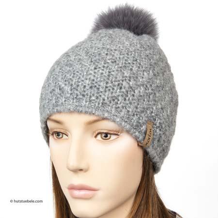 Femminile cappello con pompon con lurex e pompon di pelliccia by Norton 37413ab45f69