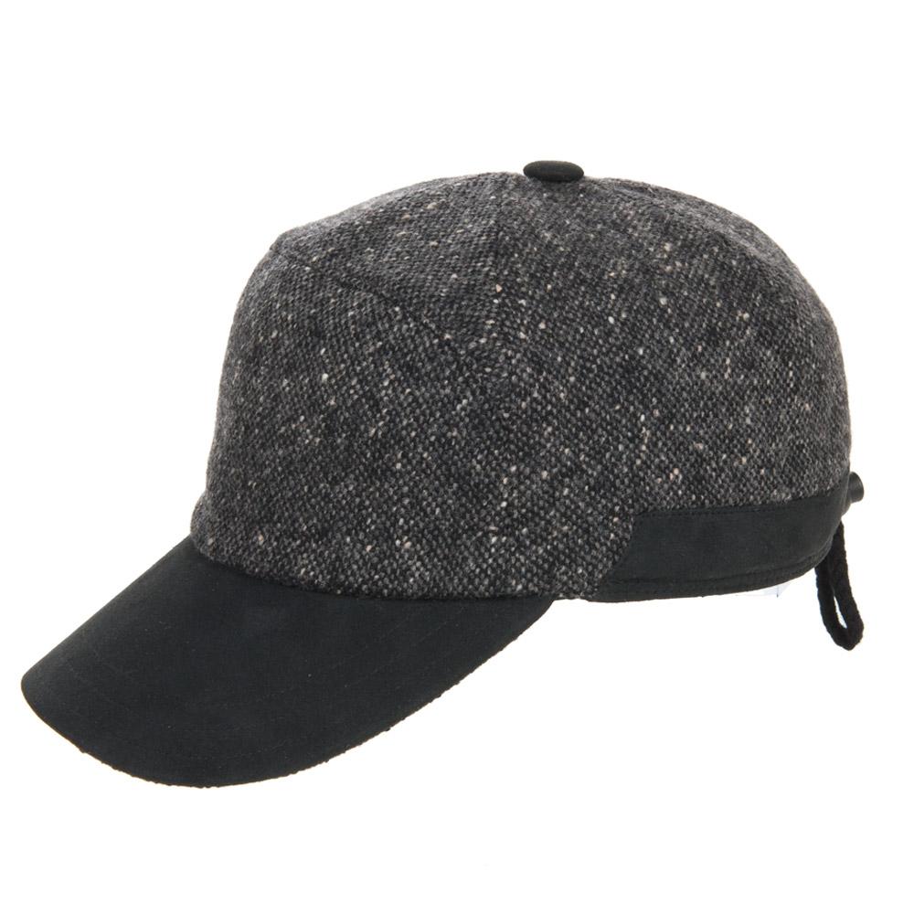 berretto con visiera in lana con paraorecchie e fodera in pile