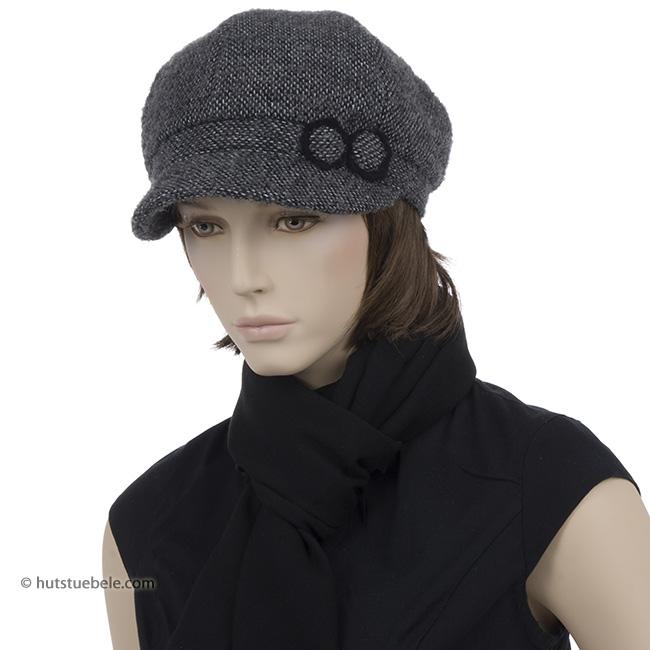berrettone per donna con visiera piccola in tessuto lana cotta c01828de65ed