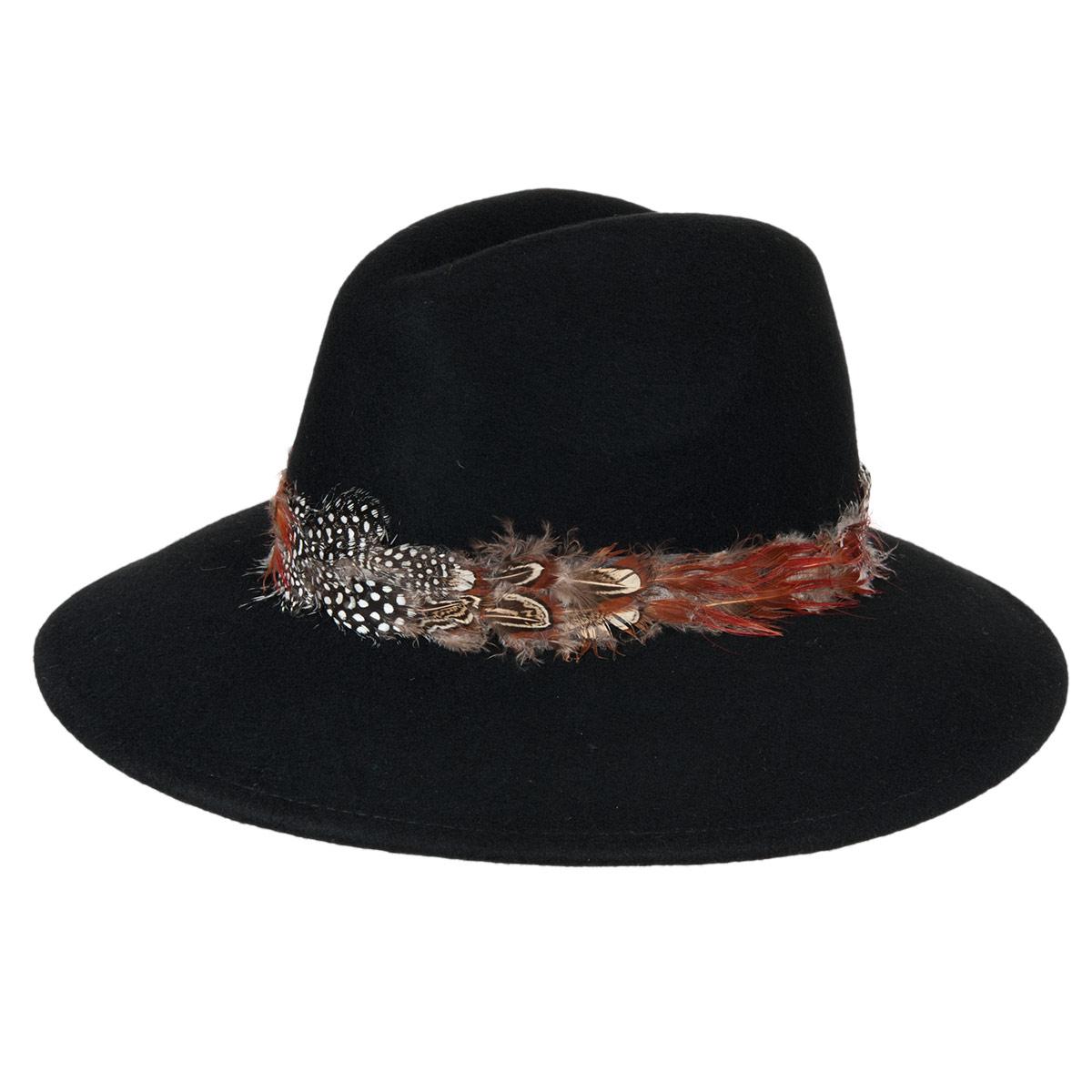 cappello in feltro di lana da donna decorato con piume a50a1f1c066b