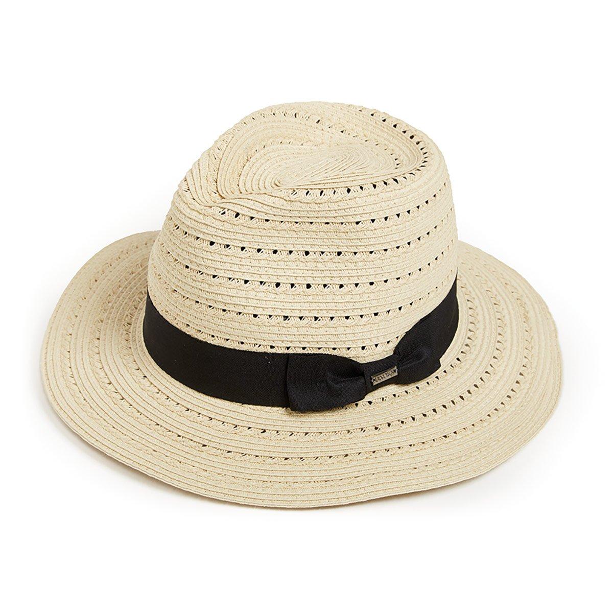 cappello estate tipo fedora per donna con guarnizione nastro nero ... 441a4e5603e1