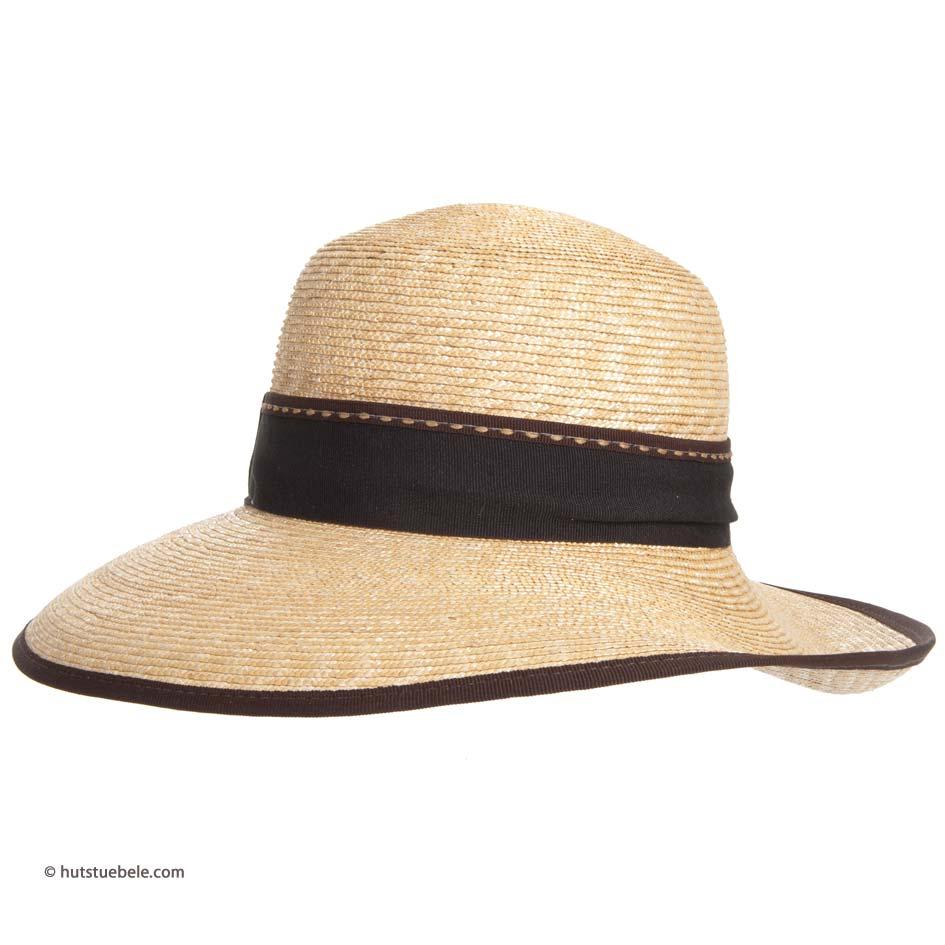 cappello paglia da donna by Hutter con tesa larga e nastro in marrone e590dfa12f2a