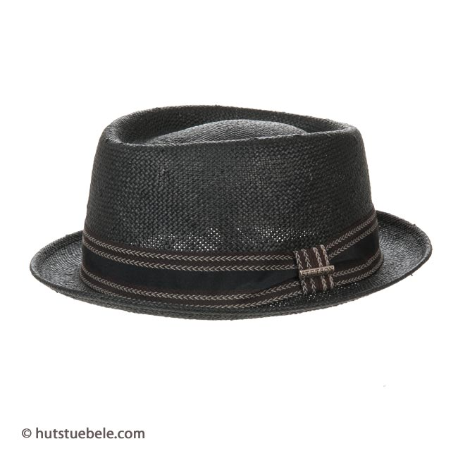 mans hat Tavares Toyo Pork Pie by Stetson with bent brim and elegant  ribbon 0179bfa766e