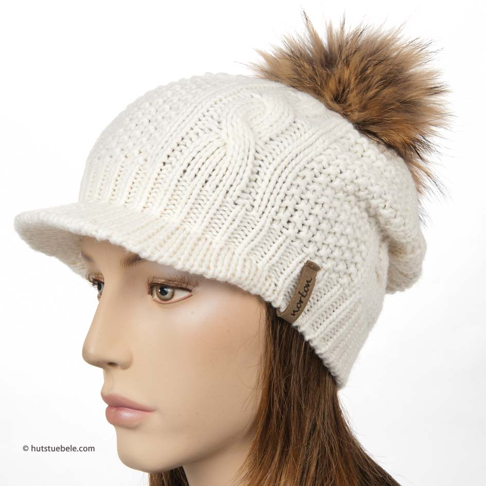 oversize basecap with fur bobble by Norton 615c6adee6b