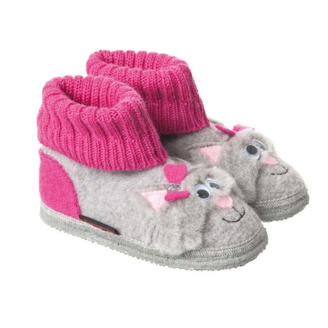 promo code 974e2 22936 pantofole alte da ragazza con suola antiscivolo e velcro modello Katzenbach  di Giesswein