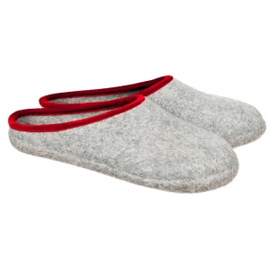 HAUNOLD womans feltslippers in pure wool felt in grey red color ebc7b383f7d