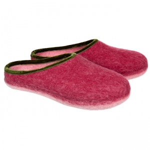 HAUNOLD womans feltslippers in pure woolfelt in red green color e4ce00875d2
